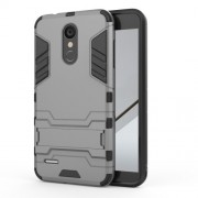Shockproof PC + TPU Hybrid Kickstand Phone Case for LG K8 (2018) - Grey