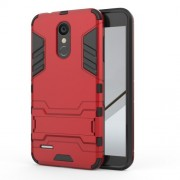 Shockproof PC + TPU Hybrid Kickstand Phone Cover for LG K8 (2018) - Red