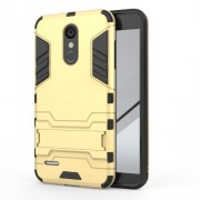 Shockproof PC + TPU Hybrid Kickstand Accessory Casing for LG K8 (2018) - Gold