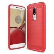 Θήκη Σιλικόνης TPU Carbon Fiber Brushed για Motorola Moto M - Κόκκινο