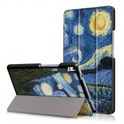 For Lenovo Tab 4 8 Plus (TB-8704F,N) Patterned Tri-fold Stand Leather Cover - Starry Night Oil Painting