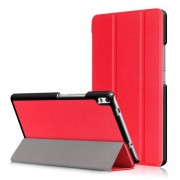Auto Wake and Sleep Tri-fold Stand Leather Tablet Cover for Lenovo Tab 4 8 Plus (TB-8704F/N) - Red