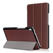 For Lenovo Tab 4 8 Plus (TB-8704F/N) Smart Tri-fold Stand Leather Shell Cover - Brown