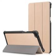 Δερμάτινη Θήκη Βιβλίο Tri-Fold με Βάση Στήριξης για Lenovo Tab 7 Essential / Tab4 7 Essential (TB-7304F) - Χρυσαφί