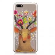 Pattern Printing IMD TPU Cell Phone Case for Huawei Y5 (2018) / Y5 Prime (2018) / Honor 7s / Play 7 - Flowered Elk