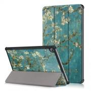Δερμάτινη Θήκη Βιβλίο Tri-Fold με Βάση Στήριξης για Huawei MediaPad M5 10 / M5 10 (Pro) - Αντισμένα Κλαδιά σε Μπλε Φόντο