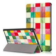 Δερμάτινη Θήκη Βιβλίο Tri-Fold με Βάση Στήριξης για Huawei MediaPad M5 10 / M5 10 (Pro) - Πολύχρωμα Τετράγωνα