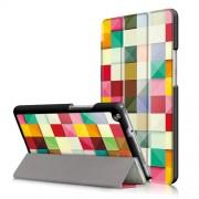 Δερμάτινη Θήκη Βιβλίο Tri-Fold με Βάση Στήριξης για Huawei Mediapad M3 Lite 8.0 (8 Inch) - Πολύχρωμα Τετράγωνα