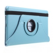 For Huawei Mediapad M3 Lite 8.0 (8 Inch) Litchi Grain 360 Degree Rotary Stand Leather Cover Case - Baby Blue