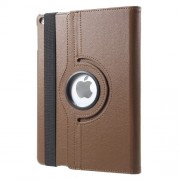 360 Degree Rotary Stand for iPad Air 2 Litchi Grain Leather Case Shell - Coffee