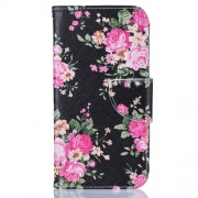 For Samsung Galaxy J3 (2016) / J3 Patterned Magnetic Leather Case Accessory - Blooming Peony Flowers