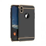 IPAKY 360 μοιρών Σκληρή Θήκη Ματ με Βελούδινη Υφή Πρόσοψης και Πλάτης για iPhone X - Μαύρο