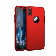 IPAKY 360 μοιρών Σκληρή Θήκη Ματ με Βελούδινη Υφή Πρόσοψης και Πλάτης με Σκληρυμένο Γυαλί για iPhone X - Κόκκινο