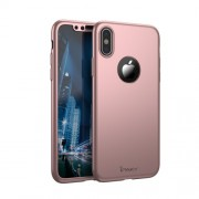 IPAKY 360 μοιρών Σκληρή Θήκη Ματ με Βελούδινη Υφή Πρόσοψης και Πλάτης με Σκληρυμένο Γυαλί για iPhone X - Ροζέ Χρυσαφί