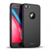 IPAKY 360 μοιρών Σκληρή Θήκη Ματ με Βελούδινη Υφή Πρόσοψης και Πλάτης με Σκληρυμένο Γυαλί για iPhone 8 - Μαύρο
