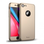 IPAKY 360 μοιρών Σκληρή Θήκη Ματ με Βελούδινη Υφή Πρόσοψης και Πλάτης με Σκληρυμένο Γυαλί για iPhone 8 - Χρυσαφί