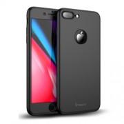 IPAKY 360 μοιρών Σκληρή Θήκη Ματ με Βελούδινη Υφή Πρόσοψης και Πλάτης με Σκληρυμένο Γυαλί για iPhone 8 Plus - Μαύρο