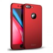 IPAKY 360 μοιρών Σκληρή Θήκη Ματ με Βελούδινη Υφή Πρόσοψης και Πλάτης με Σκληρυμένο Γυαλί για iPhone 8 Plus - Κόκκινο
