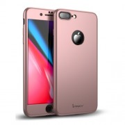 IPAKY 360 μοιρών Σκληρή Θήκη Ματ με Βελούδινη Υφή Πρόσοψης και Πλάτης με Σκληρυμένο Γυαλί για iPhone 8 Plus - Ροζέ Χρυσαφί