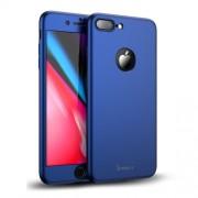 IPAKY 360 μοιρών Σκληρή Θήκη Ματ με Βελούδινη Υφή Πρόσοψης και Πλάτης με Σκληρυμένο Γυαλί για iPhone 8 Plus - Μπλε