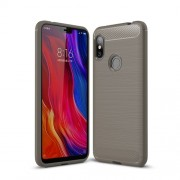 Carbon Fiber Texture Brushed TPU Cellphone Cover for Xiaomi Redmi Note 6 - Grey