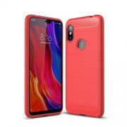 Carbon Fiber Texture Brushed TPU Back Protector Shell for Xiaomi Redmi Note 6 - Red