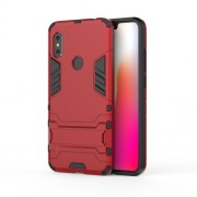 Cool Guard Plastic TPU Hybrid Mobile Phone Cover [with Kickstand] for Xiaomi Redmi Note 6 - Red