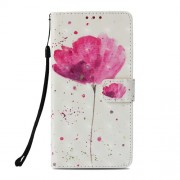 Pattern Printing PU Leather Wallet Casing for Xiaomi Pocophone F1 / Poco F1 (India) - Vivid Pink Flower