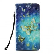 Pattern Printing PU Leather Wallet Cover for Xiaomi Pocophone F1 / Poco F1 (India) - Gold Butterflies