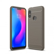 Carbon Fiber Texture Brushed TPU Mobile Phone Cover for Xiaomi Mi A2 Lite / Redmi 6 Pro - Grey