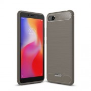 Carbon Fiber Texture Brushed TPU Mobile Cover for Xiaomi Redmi 6A (Single 12MP Rear Camera) - Grey