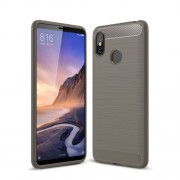 Carbon Fibre Brushed TPU Back Case for Xiaomi Mi Max 3 - Grey