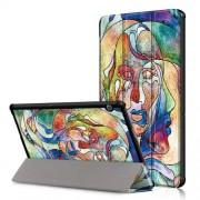 Δερμάτινη Θήκη Βιβλίο Tri-Fold με Βάση Στήριξης Huawei MediaPad T5 10 - Πρόσωπο με Μοντέρνα Ζωγραφική
