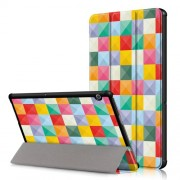 Δερμάτινη Θήκη Βιβλίο Tri-Fold με Βάση Στήριξης Huawei MediaPad T5 10 - Πολύχρωμα Τετράγωνα