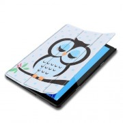 Δερμάτινη Θήκη Βιβλίο Tri-Fold με Βάση Στήριξης Huawei MediaPad T5 10 - Χαριτωμένη Κουκουβάγια