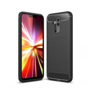 Brushed TPU Carbon Fiber Texture Phone Casing for Huawei Mate 20 Lite - Black