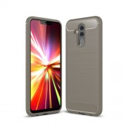 Brushed TPU Carbon Fiber Texture Phone Shell for Huawei Mate 20 Lite - Grey