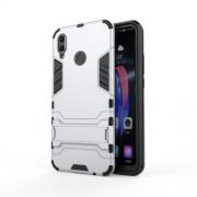 Υβριδική Θήκη Σιλικόνης TPU σε Συνδυαμό με Πλαστικό και με Βάση Στήριξης για Huawei Honor 8X - Ασημί