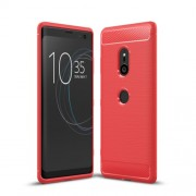 Carbon Fiber Texture Brushed TPU Mobile Phone Shell for Sony Xperia XZ3 - Red