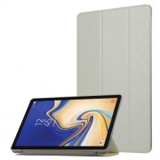 Silk Texture Leather Cover Tri-fold Stand Smart Shell for Samsung Galaxy Tab S4 10.5 T830/T835 - White