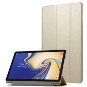 Δερμάτινη Θήκη Βιβλίο Tri-Fold με Βάση Στήριξης με Διάφανη Πλάτη για Samsung Galaxy Tab S4 10.5 T830/T835 - Χρυσαφί