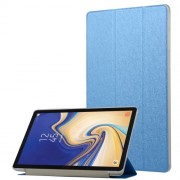 Silk Texture Leather Protective Shell Case with Tri-fold Stand for Samsung Galaxy Tab S4 10.5 T830/T835 - Dark Blue