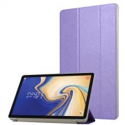Silk Texture Leather Tri-fold Stand Smart Protection Shell for Samsung Galaxy Tab S4 10.5 T830/T835 - Purple