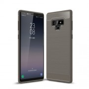 Carbon Fiber Texture Brushed TPU Gel Back Case for Samsung Galaxy Note 9 - Grey