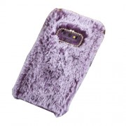 Rhinestone Soft Fur Coated TPU Protection Mobile Phone Case Cover for Samsung Galaxy Note9 N960 - Purple
