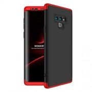 GKK 360 μοιρών Σκληρή Θήκη Ματ με Βελούδινη Υφή Πρόσοψης και Πλάτης για Samsung Galaxy Note 9 SM-N960 - Μαύρο/Κόκκινο