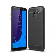 Θήκη Σιλικόνης TPU Carbon Fiber Brushed για Samsung Galaxy J6 (2018) - Μαύρο
