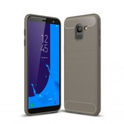 Carbon Fiber Texture Brushed TPU Phone Shell Case for Samsung Galaxy J6 (2018) - Grey