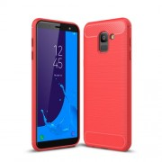 Carbon Fiber Texture Brushed TPU Phone Cover Case for Samsung Galaxy J6 (2018) - Red