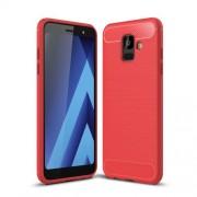 Θήκη Σιλικόνης TPU Carbon Fiber Brushed για Samsung Galaxy A6 (2018) - Κόκκινο